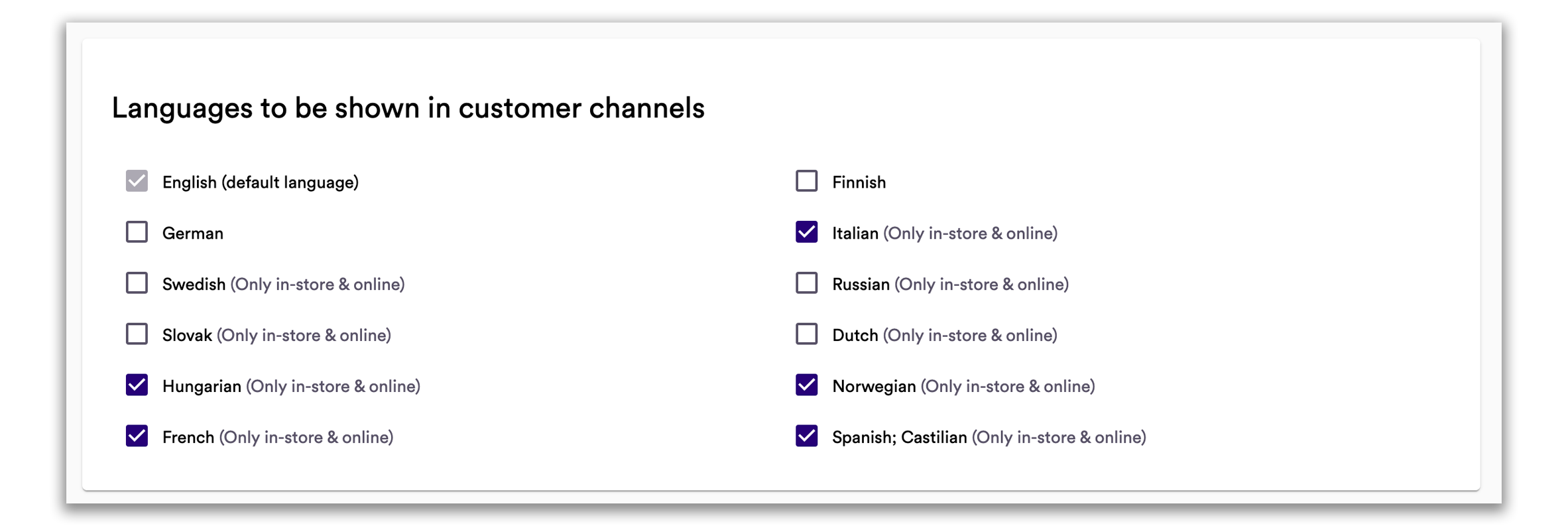 addition of new translated languages to customer interface